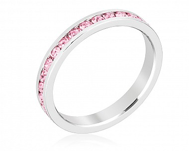 Sparkly Stackable Pink Crystal Eternity Band